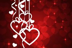 白色爱心挂饰红心背景矢量素材
