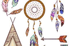 8款波西米亚风格装饰物矢量素材