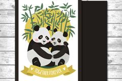 卡通熊猫情侣卡片矢量素材