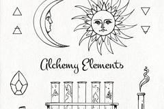 6款手绘炼金术元素矢量梦之城娱乐