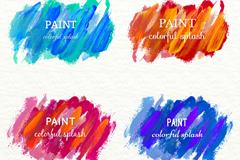 4款水彩涂抹墨迹设计矢量素材