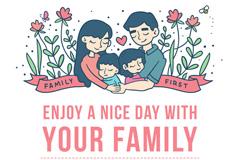 温馨的四口之家国际家庭日矢量素材