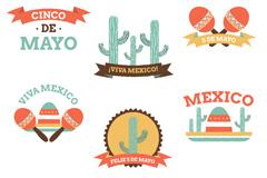 6款彩色墨西哥标签矢量素材