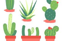 6款绿色仙人掌类植物设计矢量素材