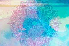 混色水彩繁复花纹设计矢量素材