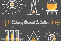 6款彩绘炼金术元素矢量素材