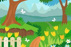 卡通郊外花园小路风景矢量素材
