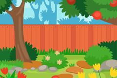 卡通私人花园庭院风景矢量素材
