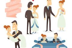 4款扁平化婚礼新人设计矢量素材