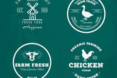 4款创意农场元素标志矢量素材