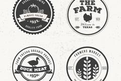 4款黑白圆形农场产品标签矢量素材