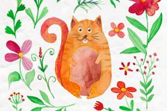 水彩绘花卉和胖猫咪矢量素材