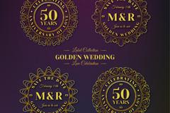 4款金色花纹婚礼标签矢量素材