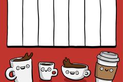 卡通咖啡装饰周计划表矢量素材
