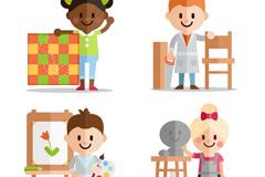 4款可爱扁平化艺术儿童矢量素材