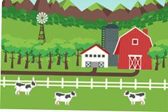 山区农场风景和奶牛设计矢量素材