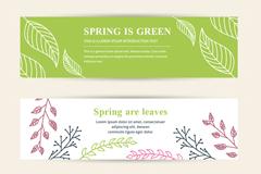 3款素雅春季植物banner矢量素材