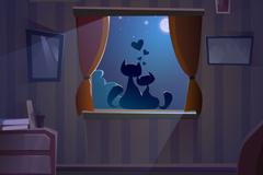 窗台上的猫咪情侣矢量素材