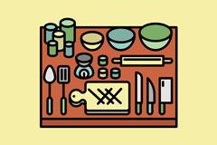 托盘上的15个厨具矢量素材