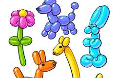 5款彩色动植物气球矢量素材