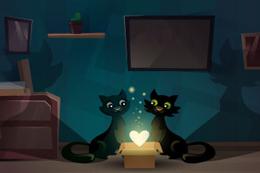 卡通黑色情侣猫插画矢量素材