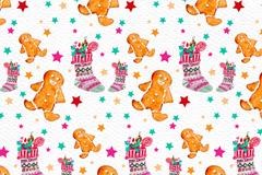 水彩绘姜饼人和圣诞袜无缝背景矢量图