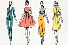 4款彩绘时尚模特设计矢量素材