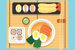 美味日本菜肴俯视图矢量素材