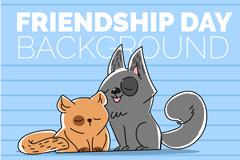 卡通猫咪友谊节贺卡矢量素材