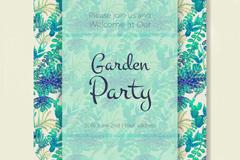 水彩绘绿色植物花园派对邀请卡矢量图