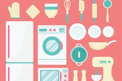18款扁平化厨房电器和厨具矢量素材