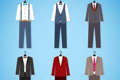 6款创意男士西装设计矢量素材