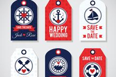6款航海元素婚礼吊牌矢量素材
