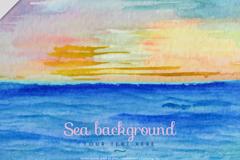 水彩绘海上日出风景矢量素材