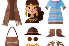 扁平化女孩和10款服装配饰矢量素材