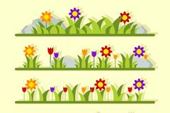4款彩色花园花草设计矢量素材