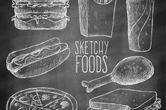 7款黑板墙手绘快餐食物矢量素材