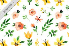 水彩绘花朵和叶子无缝背景矢量素材