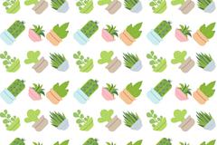 水彩绘多肉植物盆栽无缝背景矢量图