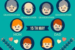 创意家庭日8个家人头像矢量素材
