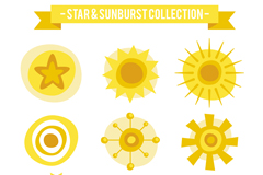 9款黄色太阳和星星矢量梦之城娱乐