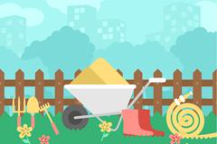 创意花园城市和园艺工具插画矢量素材