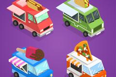 4款彩色立体可移动快餐车矢量图