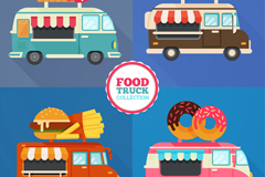 4款创意可移动餐车矢量素材