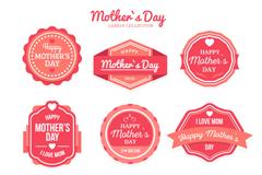 9款玫红色母亲节标签矢量素材