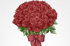 手绘红色玫瑰花束矢量素材