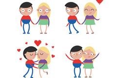 4款简洁卡通爱心情侣设计矢量素材