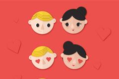 3对可爱情侣头像矢量素材
