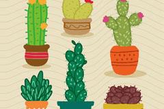 6款卡通仙人掌类植物盆栽矢量素材
