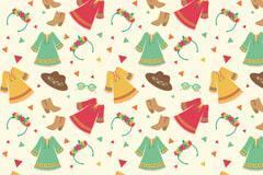 波西米亚风格服装与配饰无缝背景矢量图